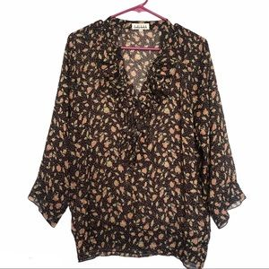 Lady Dutch Floral Ruffle Front V Neck Blouse